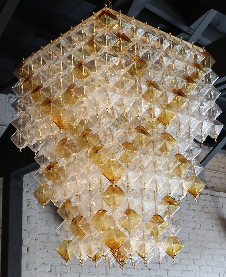 Late 20th Century Orange and Clear Murano Glass Tiered Chandelier For Sale