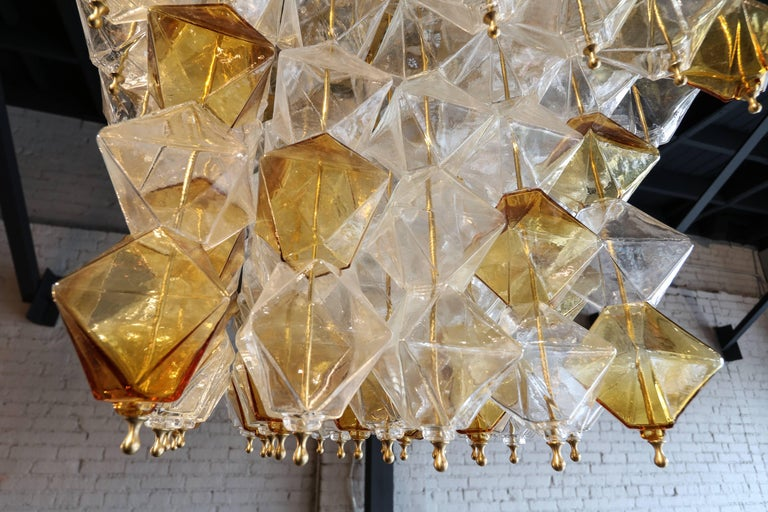 Italian Orange and Clear Murano Glass Tiered Chandelier For Sale