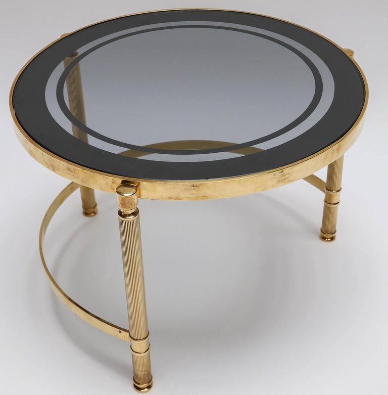 Set of Three Brass Nesting Tables with Smoked Glass Tops In Good Condition For Sale In Los Angeles, CA