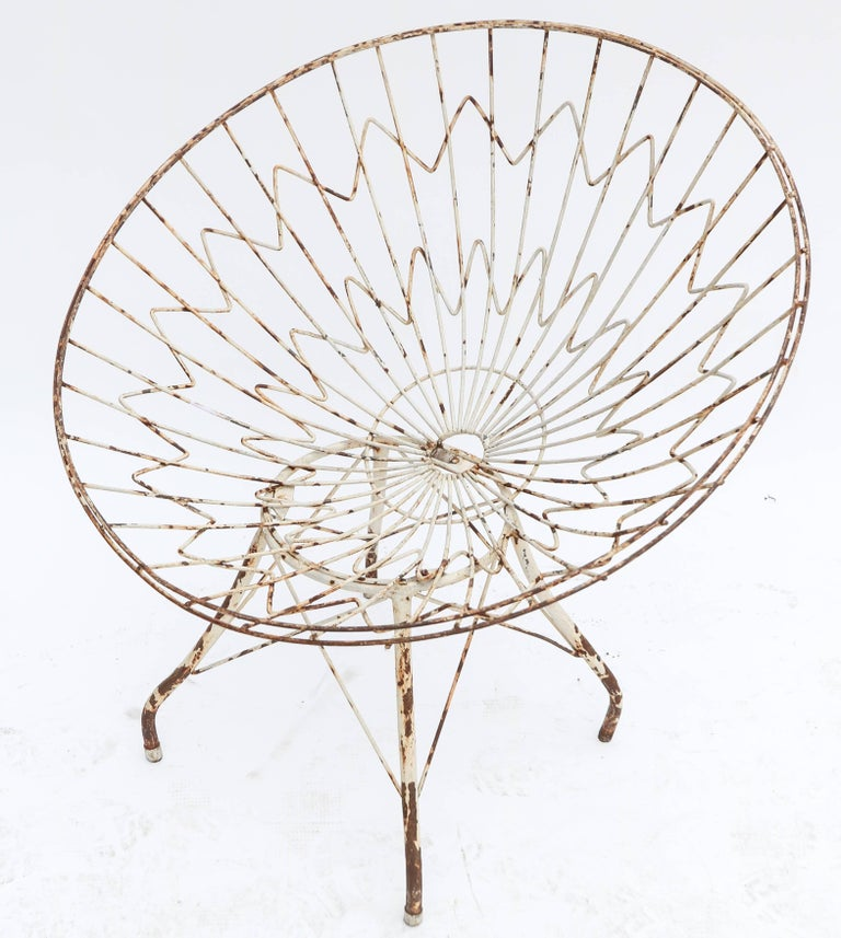 Brazilian Pair of Round Metal Outdoor Garden Chairs For Sale