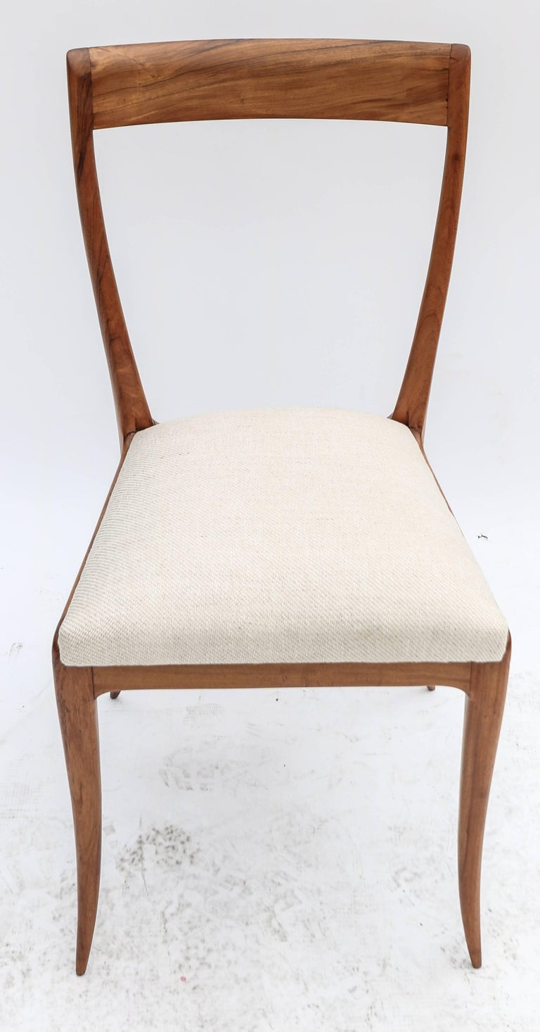 Mid-20th Century Set of Eight Scapinelli 1960s Brazilian Caviuna Dining Chairs in Beige Linen For Sale