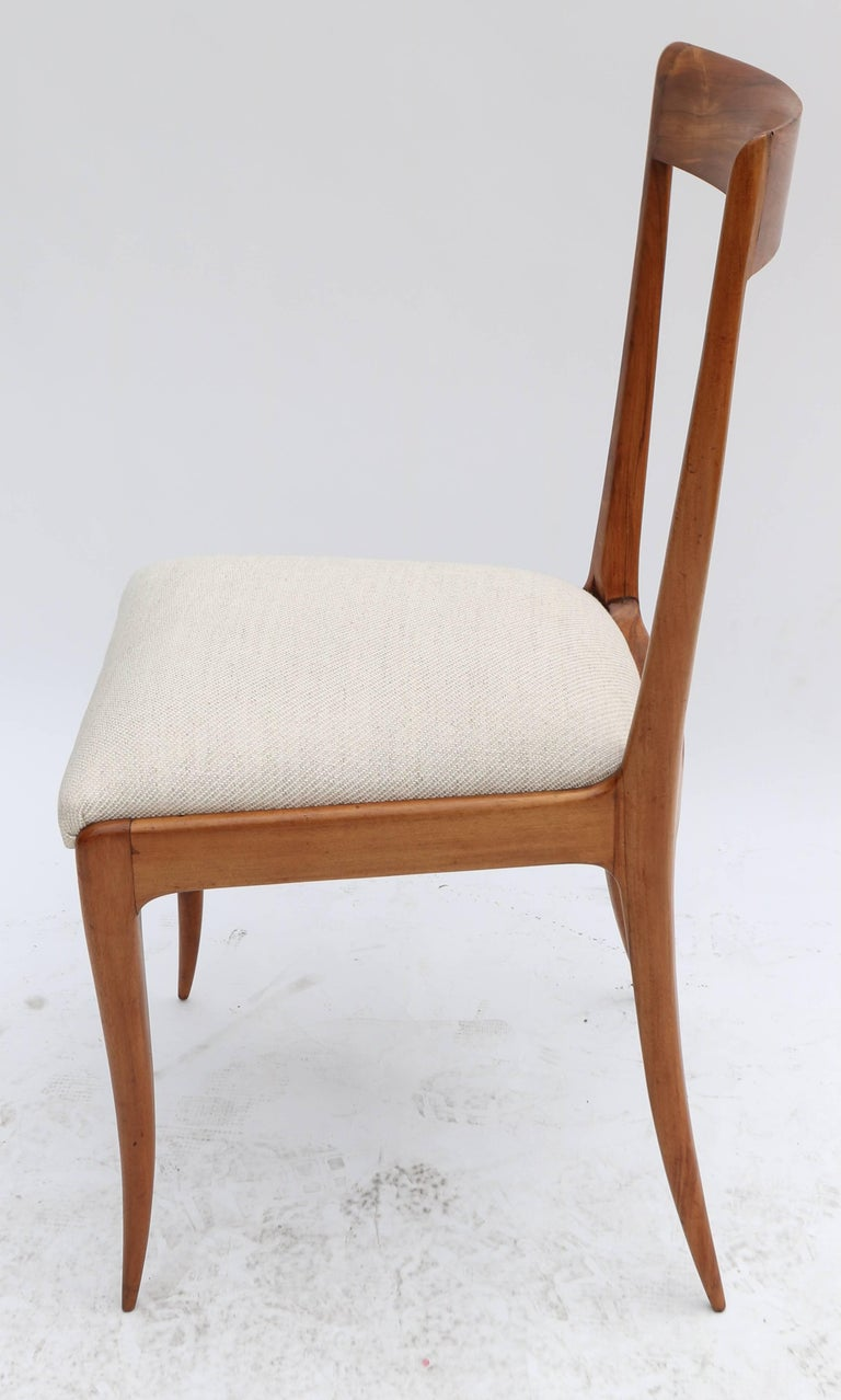 Mid-Century Modern Set of Eight Scapinelli 1960s Brazilian Caviuna Dining Chairs in Beige Linen For Sale