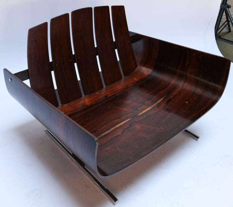 Chrome Pair of Jorge Zalszupin 1960s Brazilian Jacaranda Presidencial Lounge Chairs For Sale