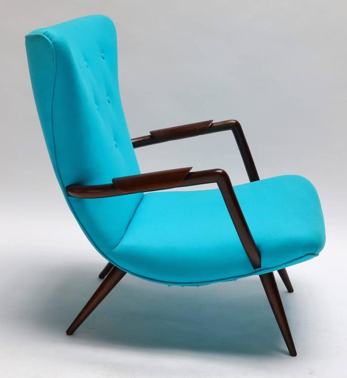 Pair of Blue Brazilian Paulistana Wood Armchairs in the Style of Scapinelli In Good Condition For Sale In Los Angeles, CA