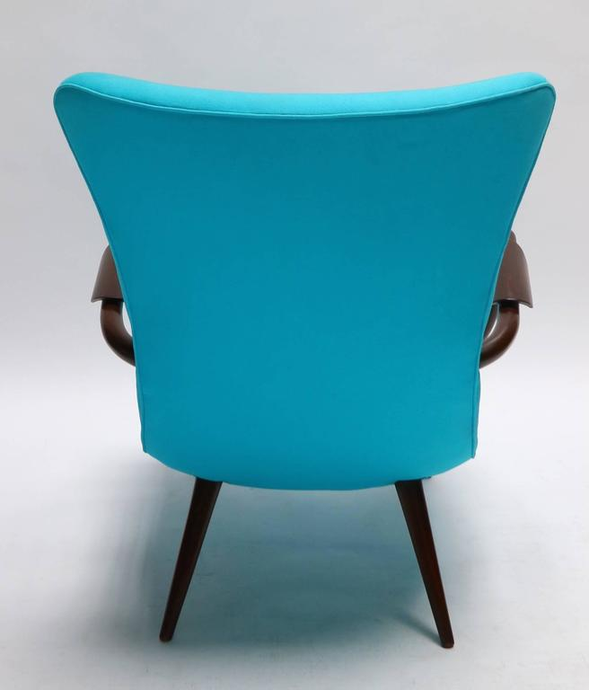 Mid-20th Century Pair of Blue Brazilian Paulistana Wood Armchairs in the Style of Scapinelli For Sale