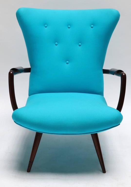 Mid-Century Modern Pair of Blue Brazilian Paulistana Wood Armchairs in the Style of Scapinelli For Sale
