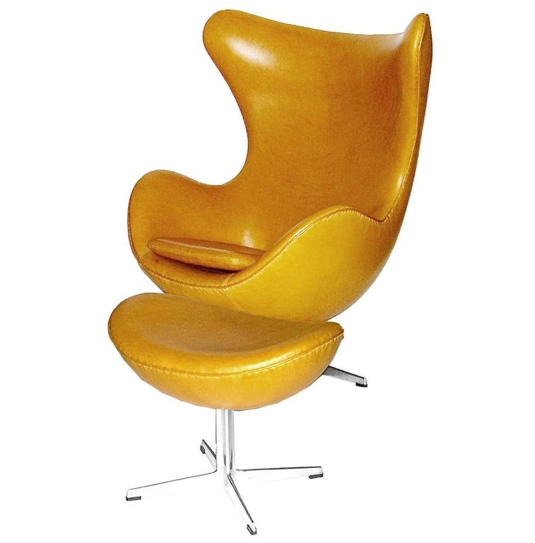 outstanding egg chair w ottoman in yolk tan leather by. Black Bedroom Furniture Sets. Home Design Ideas