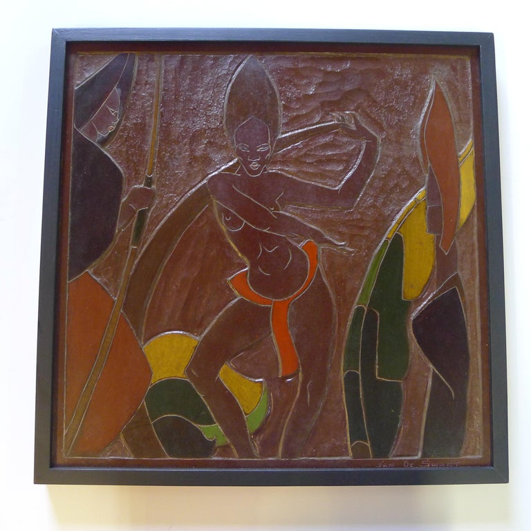 Midcentury Africana tribal Masonite relief panel art signed Jan de Swart.
