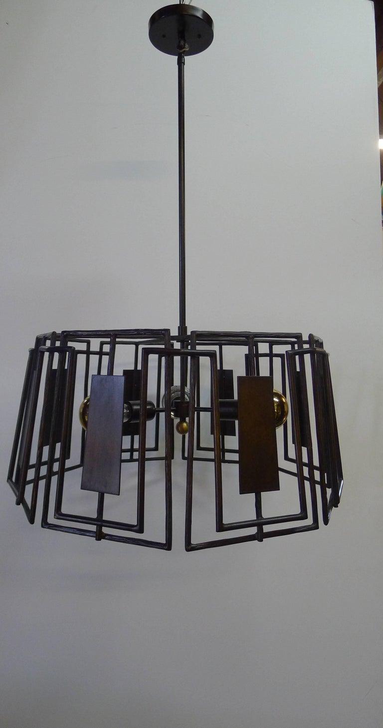 Paul Marra Trellis Chandelier Faux Bois Iron For Sale 1