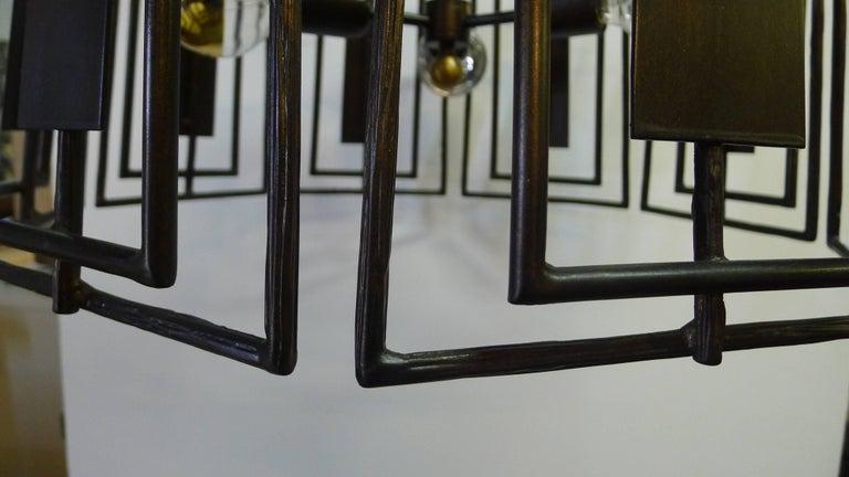 Contemporary Paul Marra Trellis Chandelier Faux Bois Iron For Sale