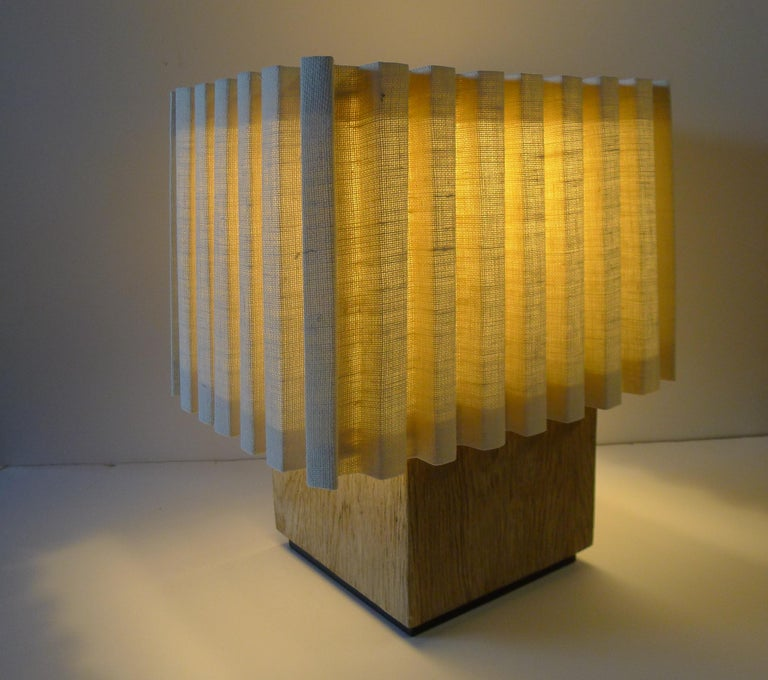 American Paul Marra Modern Distressed Oak Lamp For Sale