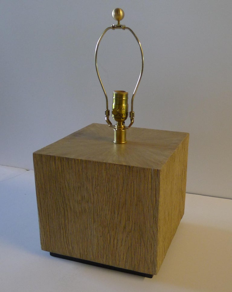 Contemporary Paul Marra Modern Distressed Oak Lamp For Sale