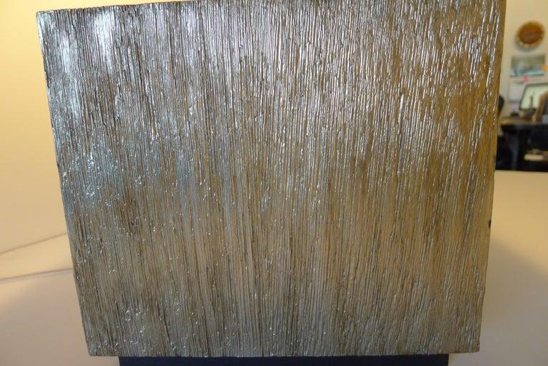 Paul Marra Modern Distressed Silver Oak Lamp For Sale 1