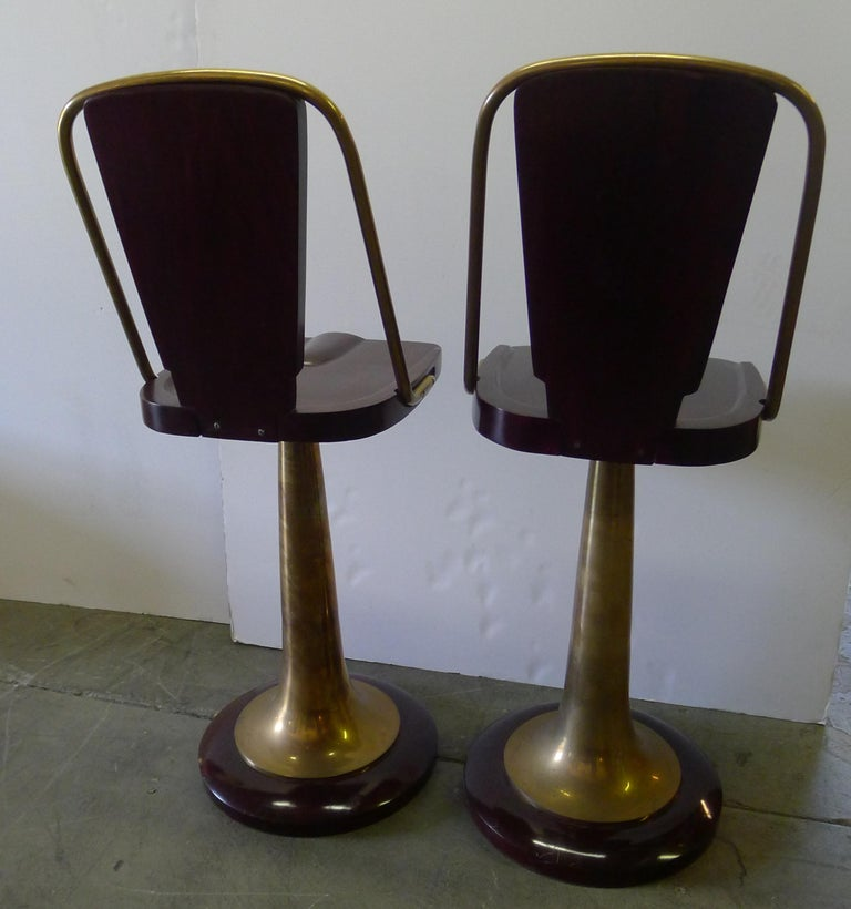 Bar Stools Pair of Swivel Yacht Style In Good Condition For Sale In Los Angeles, CA