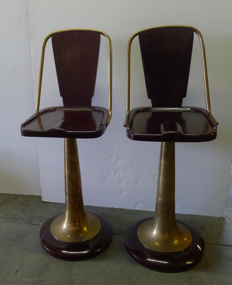 20th Century Bar Stools Pair of Swivel Yacht Style For Sale