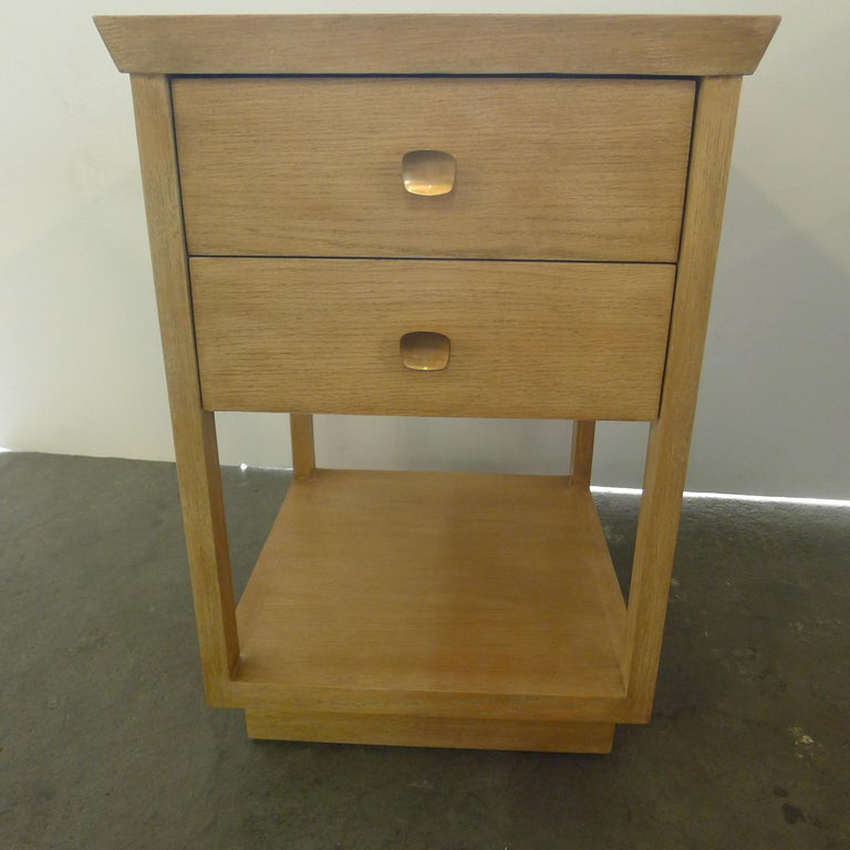 Wood Paul Marra Two-Tier Nightstand in Rift Sawn Oak Natural Finish For Sale
