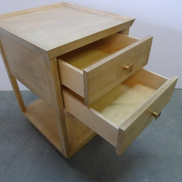 Modern Paul Marra Two-Tier Nightstand in Rift Sawn Oak Natural Finish For Sale