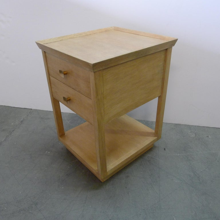 Paul Marra Two-Tier Nightstand in Rift Sawn Oak Natural Finish In New Condition For Sale In Los Angeles, CA