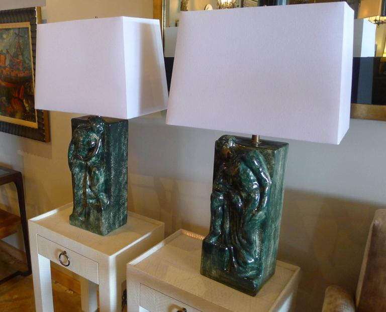 Pair of Figural Ceramic Table Lamps For Sale 3