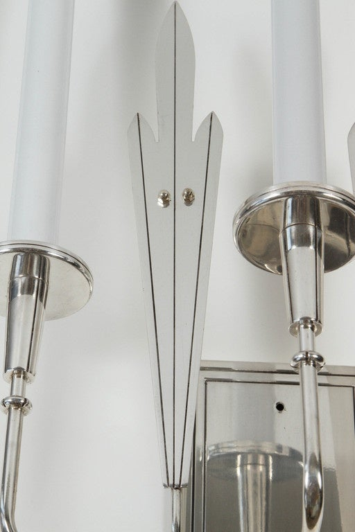 Pair Large-Scale Silver Plated Parzinger Style Sconces In Good Condition For Sale In Los Angeles, CA