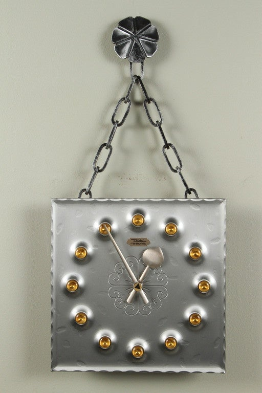 Forged Midcentury Brutalist Mod Wall Clock For Sale