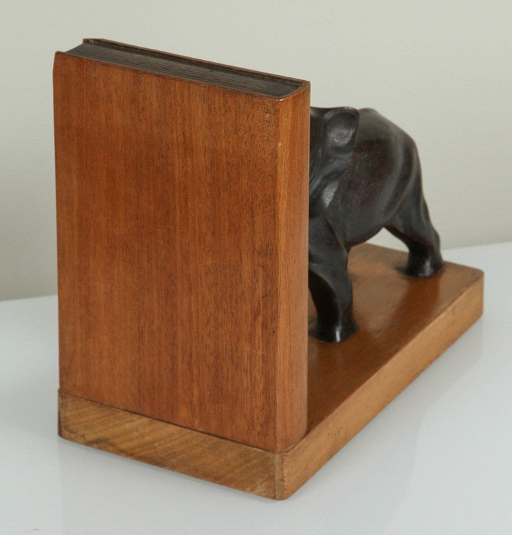 Wood Pair of Art Deco Elephant Bookends For Sale