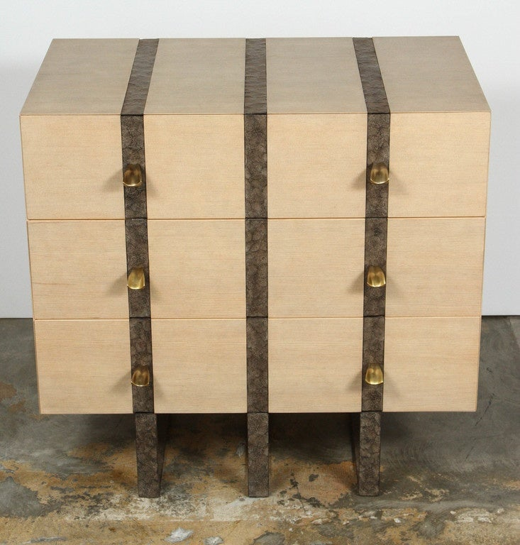 Contemporary Paul Marra Banded Chest in Bleached Douglas Fir and Inset Iron Band For Sale