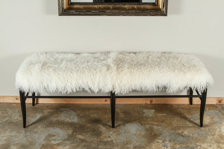 Contemporary Mid-Century Modern long bench inspired by Gio Ponti with Mongolian lamb. By order.