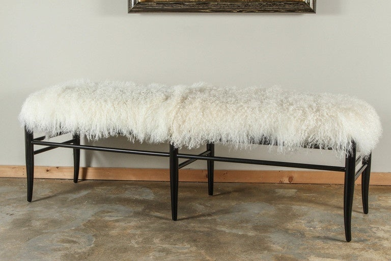 American Gio Ponti Inspired Long Bench in Mongolian Lamb For Sale