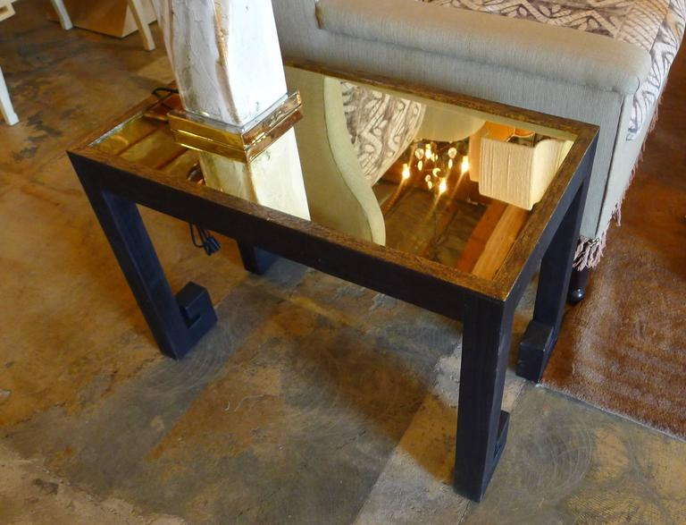 Distressed Pair Greek Key Tables with Brass Metal Inset 9