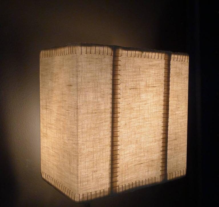 Hand-Stitched Laced Linen Shaded Wall Sconce 7