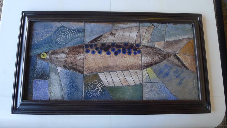 Ceramic Mid-Century Framed Fish Tile For Sale