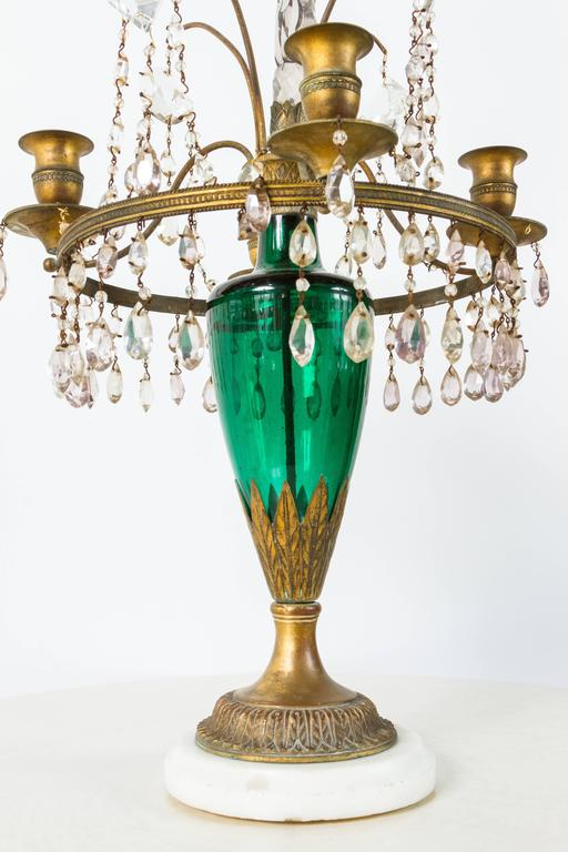 Neoclassical Girandole Pair of 19th Century Swedish Candelabra For Sale 1