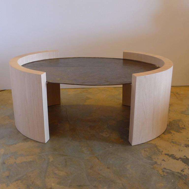 Paul Marra Oval Oak and Hand-Hammered Steel Cocktail Table 2