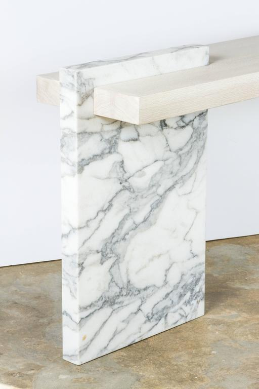 Modern Paul Marra Marble and Bleached Oak Console For Sale