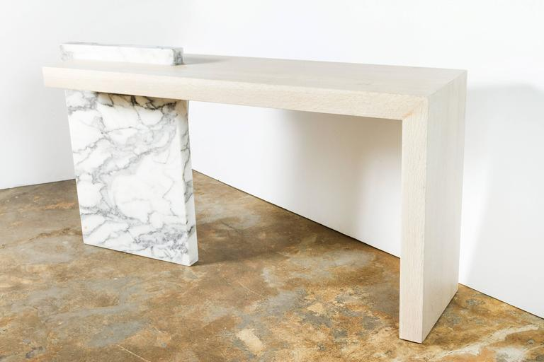 American Paul Marra Marble and Bleached Oak Console For Sale