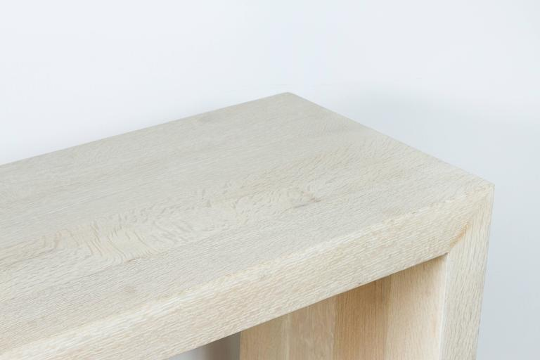 Paul Marra Marble and Bleached Oak Console In Excellent Condition For Sale In Los Angeles, CA