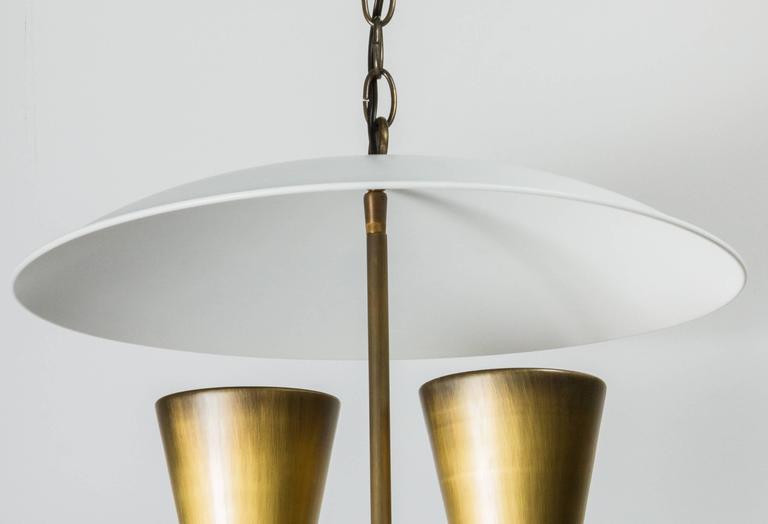 Mid-Century Lightolier Style Brass Pendant 4