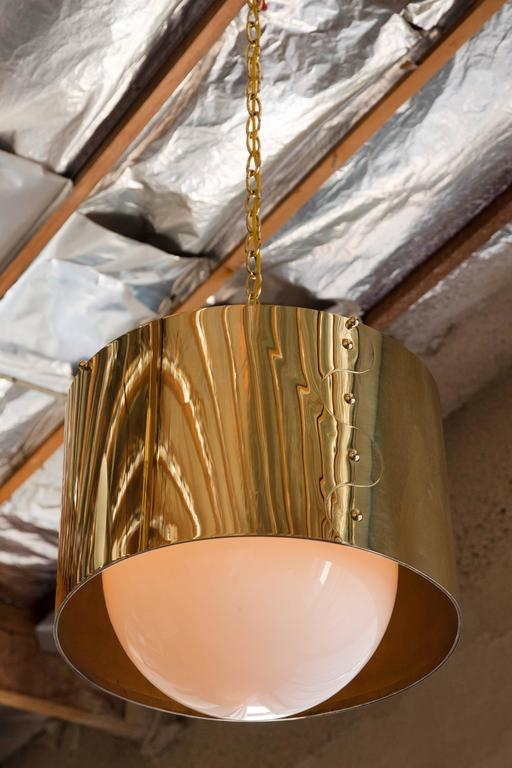 Mid-Century Brass Drum Restored Pendant or Chandelier In Excellent Condition For Sale In Los Angeles, CA