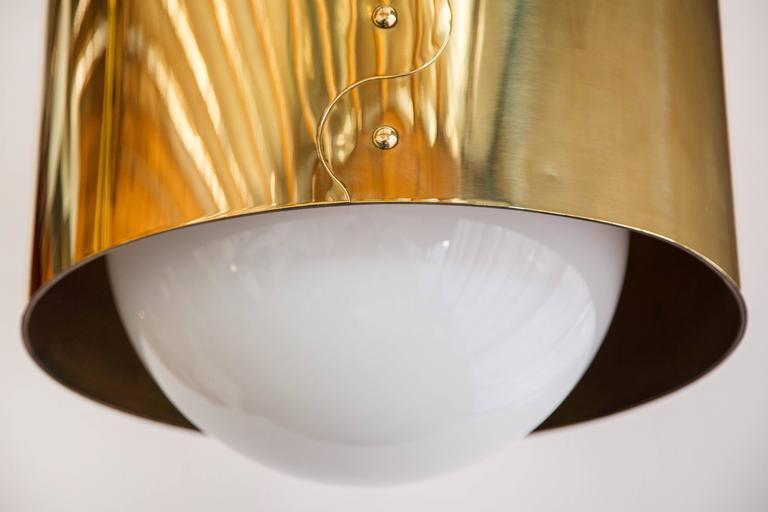 Mid-Century Modern Mid-Century Pair of Brass Drum Restored Shaded Pendants For Sale