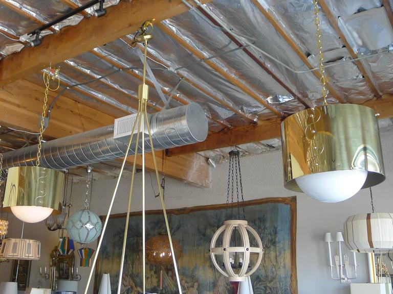 Polished Mid-Century Pair of Brass Drum Restored Shaded Pendants For Sale