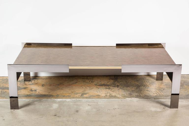 Blackened Paul Marra Modern Waterfall Cocktail Table For Sale