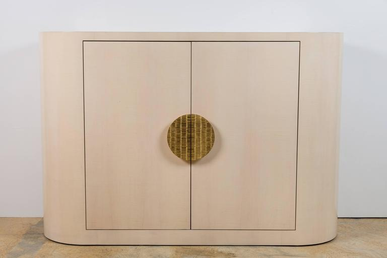 Italian Inspired 1970s Style Rounded Two-Door Cabinet 3