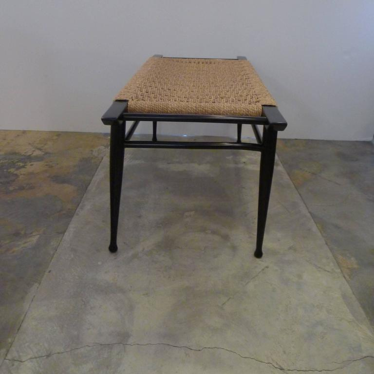 Mid-Century Modern Danish Woven Rush Bench In Good Condition For Sale In Los Angeles, CA