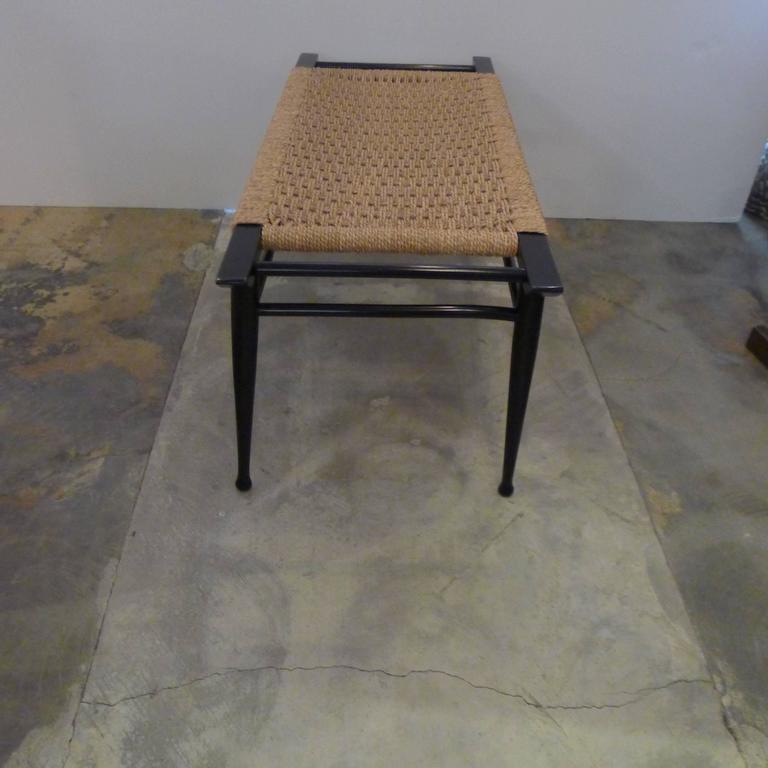 Mid-Century Modern Danish Woven Rush Bench For Sale 1