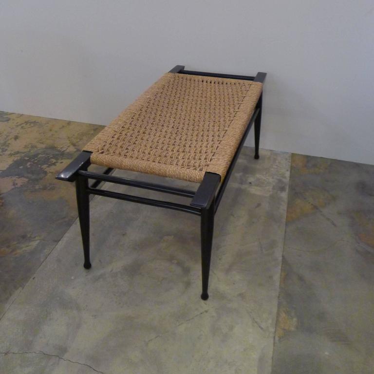 Mid-Century Modern Danish Woven Rush Bench 5