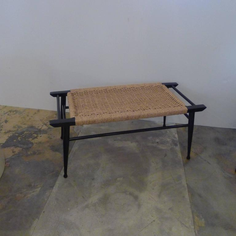 Mid-Century Modern Danish woven rush bench. Seat is tight and ready to use with refreshed black lacquer finish.