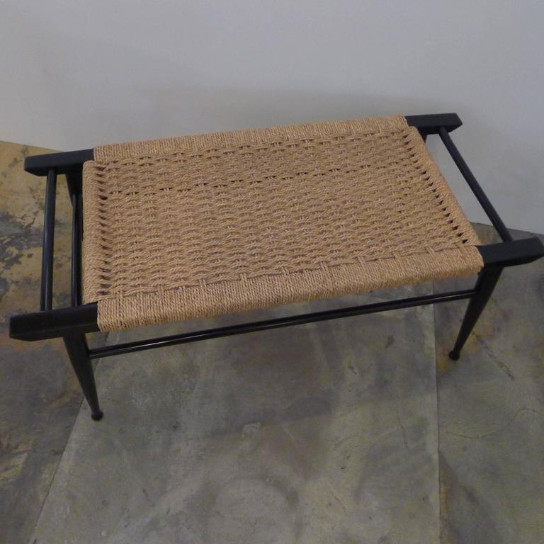 Lacquered Mid-Century Modern Danish Woven Rush Bench For Sale