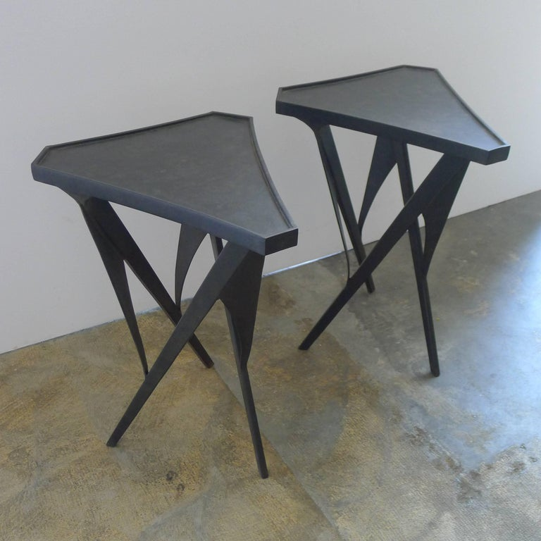 Paul Marra Triangular Steel Side Table In Excellent Condition For Sale In Los Angeles, CA