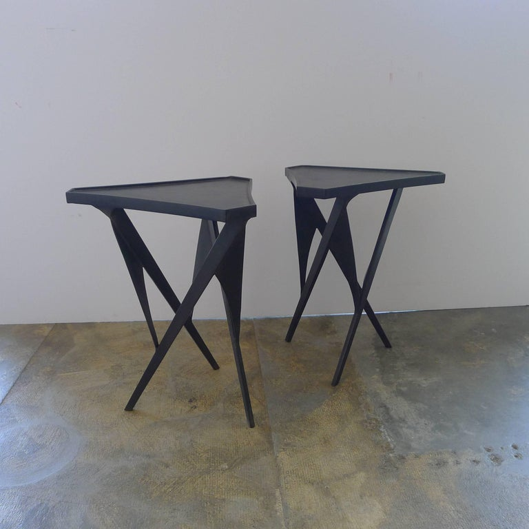 Paul Marra Triangular Steel Side Table 4